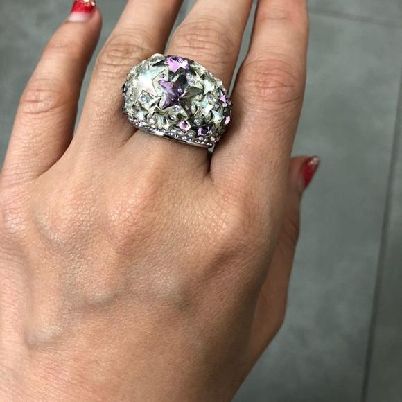 60d0e15b74c79 Authentic Swarovski Pink Silver Star Chunky Ring